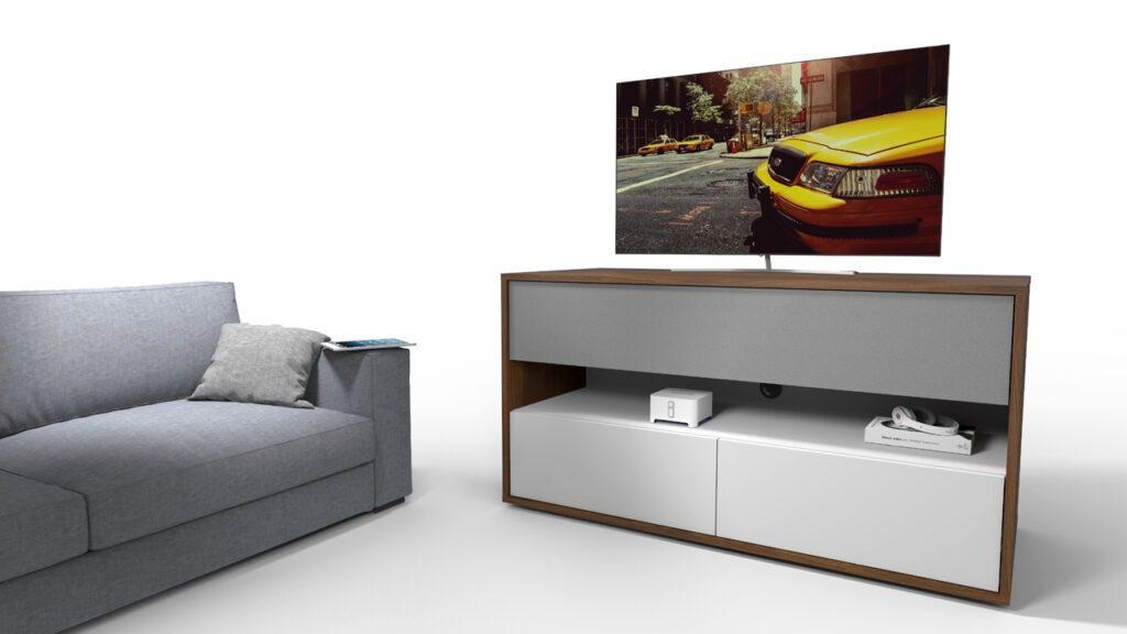 tv meubel op maat met luidsprekerdoek