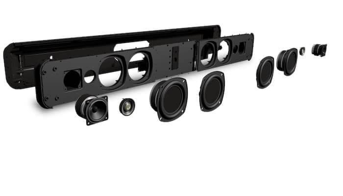 Bluesound Pulse 2i soundbar in emondo tv meubel op maat