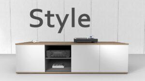 emondo Style TV meubel op maat met noten bovenblad