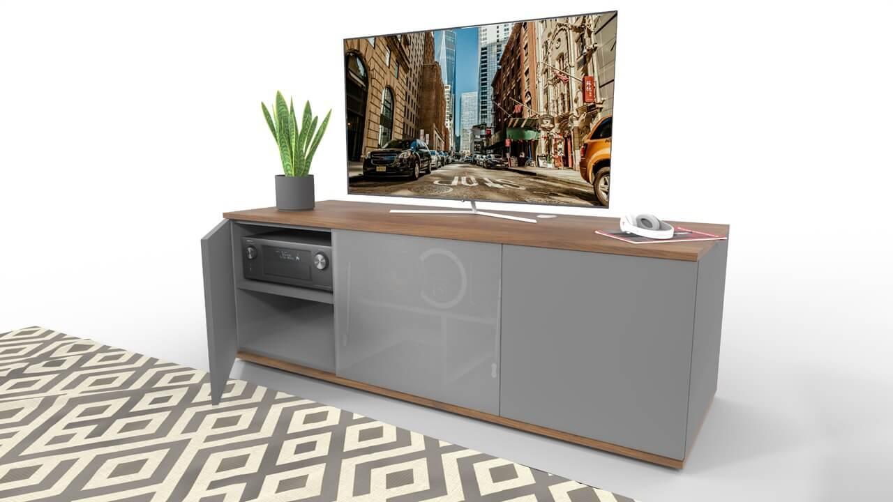 emondo Studio thuisbioscoop meubel voorzien van een klep met luidsprekerdoek