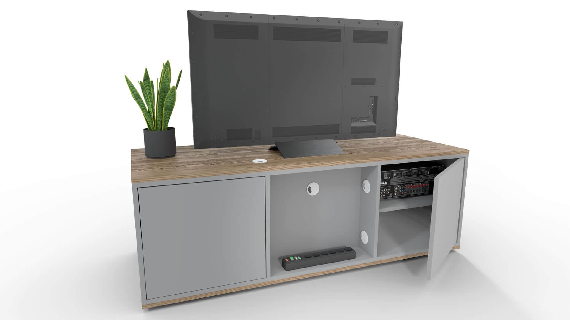 Een emondo TV meubel op maat heeft aan de achterkant een technische ruimte aan de achterkant op een wirwar aan kebel te voorkomen.