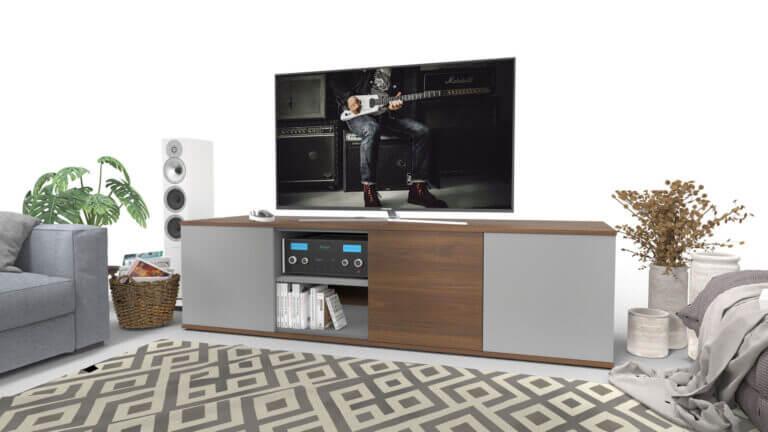 In de veelzijdige emondo Style TV meubel op maat verberg je een centre luidspreker achter een klep met luidsprekerdoek