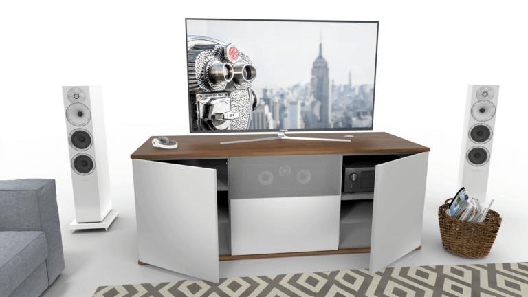 emondo Studio Thuisbioscoop meubel met een klep voorzien van luidsprekerdoek