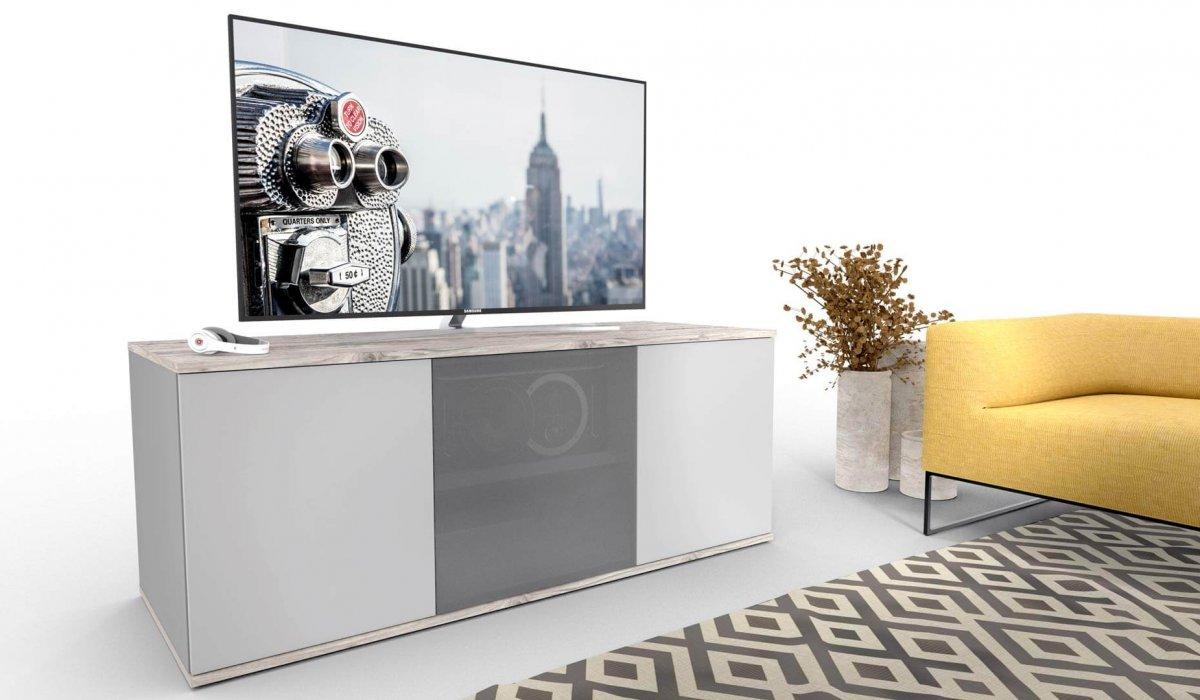 emondo Studio TV meubel op maat met luidsprekerdoek