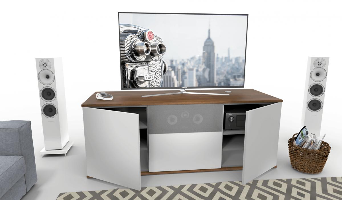emondo TV meubel op maat met een klep voorzien van luidsprekerdoek